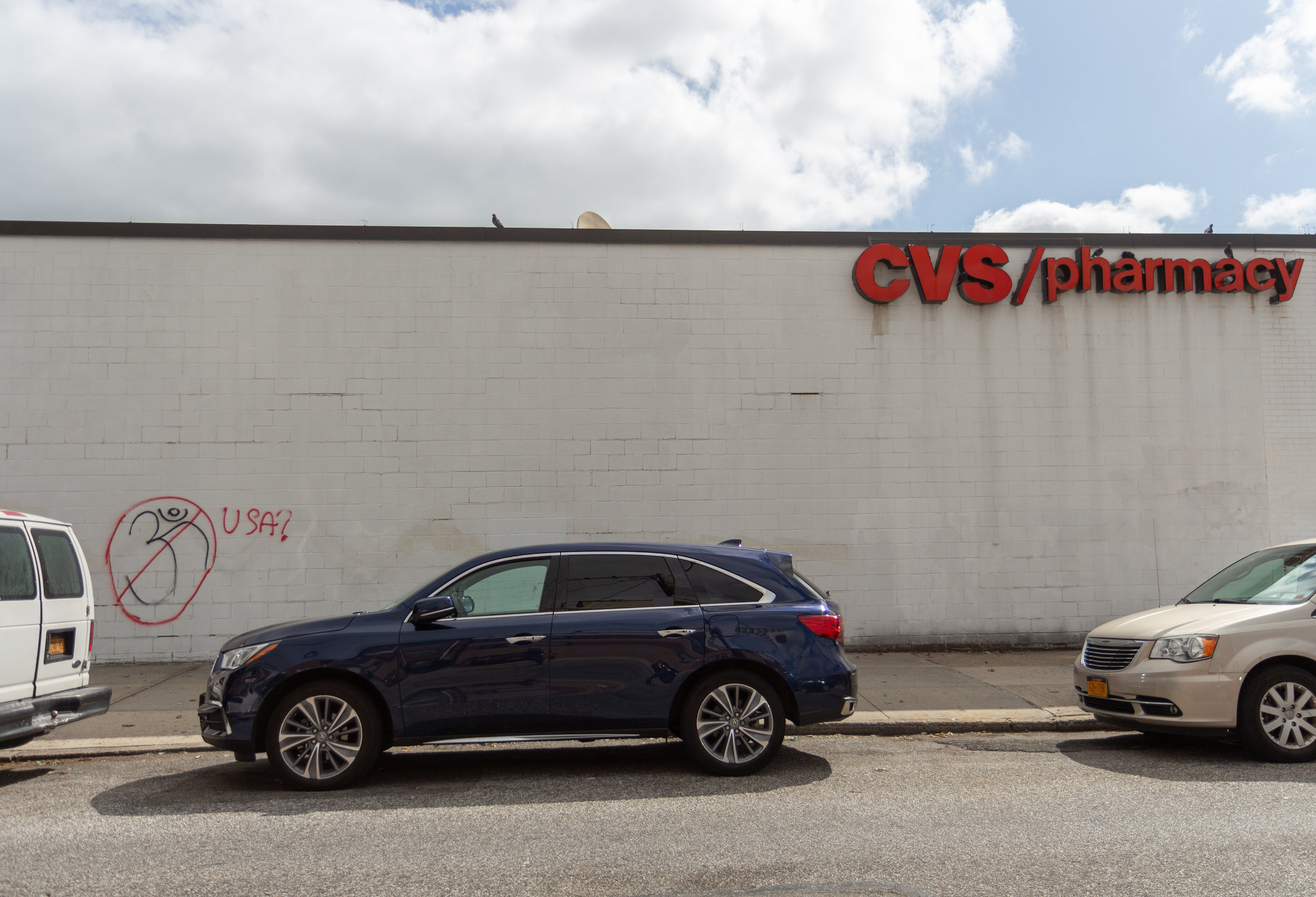 A CVS on Northern Boulevard in Jackson Heights was vandalized with racist graffiti. Eagle  photo by Jonathan Sperling.