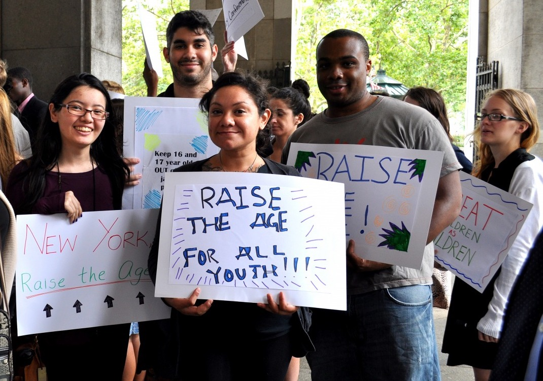 Young people demonstrate in support of Raise the Age prior to passage of the law. Photo via the State Senate.