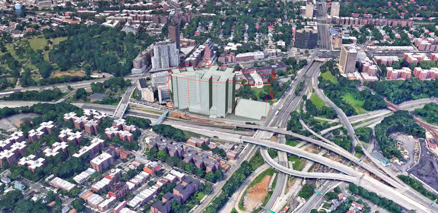 Under the existing plan, the Kew Gardens jail would rise to a height of 270 feet. The site would include a 676-space municipal parking lot. Rendering via City Hall.