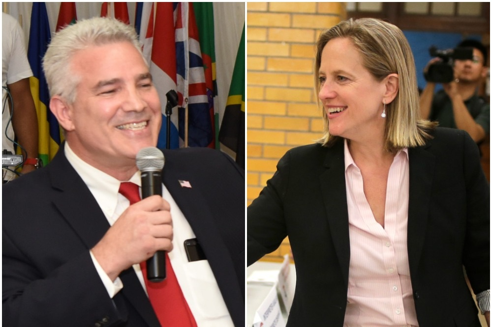 """Borough President Melinda Katz, the Democratic nominee for DA (right), and defense attorney Joe Murray, the Republican nominee, discussed the """"extraordinary circumstances"""" provision of the state's Raise the Age law. Photo courtesy of Borough Hall; Photo courtesy of Joe Murray"""
