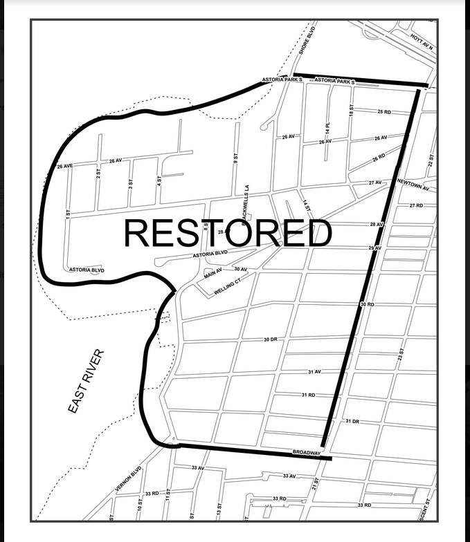 Street cleaning will be restored in Old Astoria, much to the delight of residents. Photo via the DSNY.