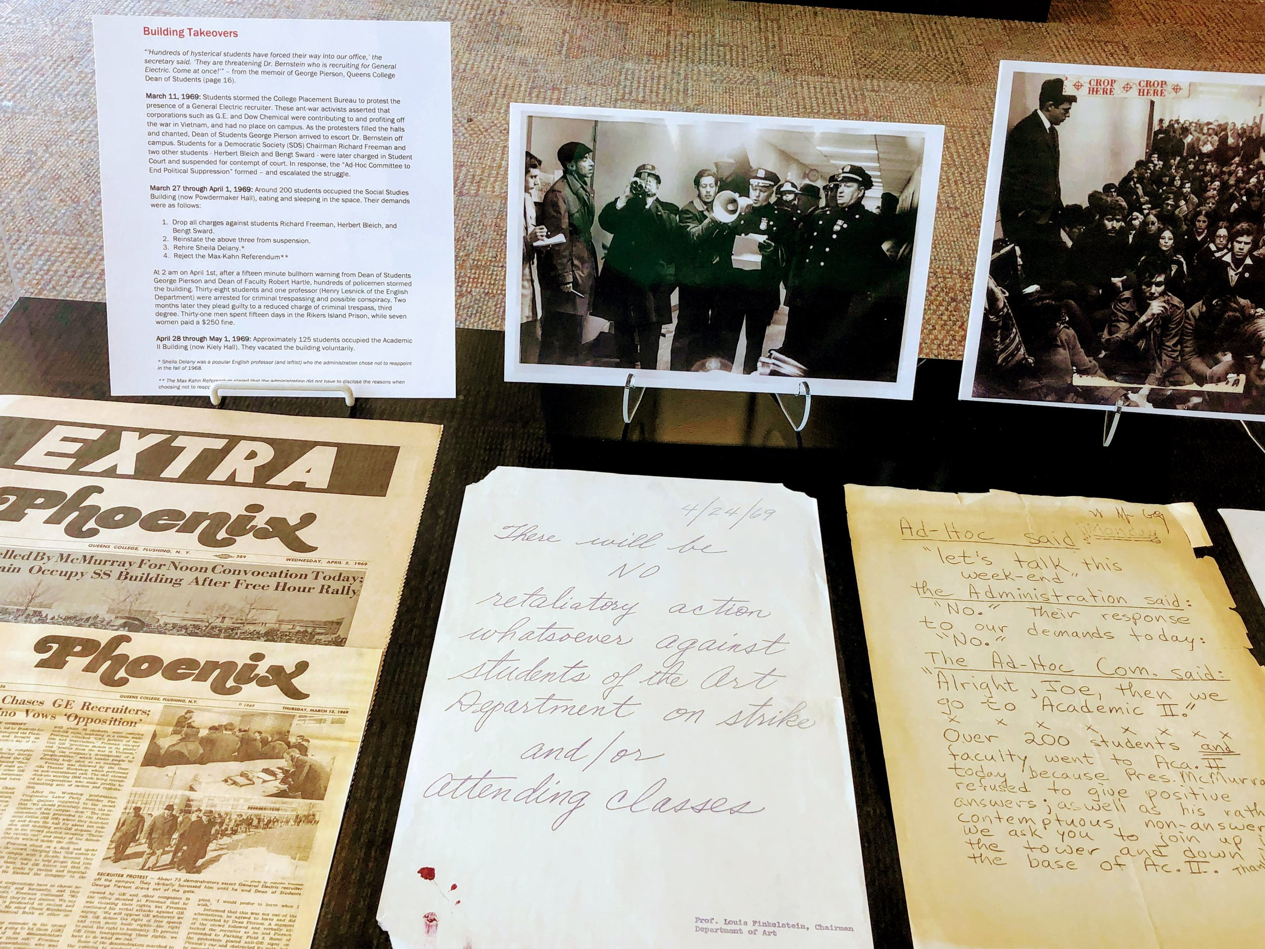 An exhibit at Queens College details how the university was the site of student dissent throughout the tumultuous 1960s. Photos courtesy of Queens College.