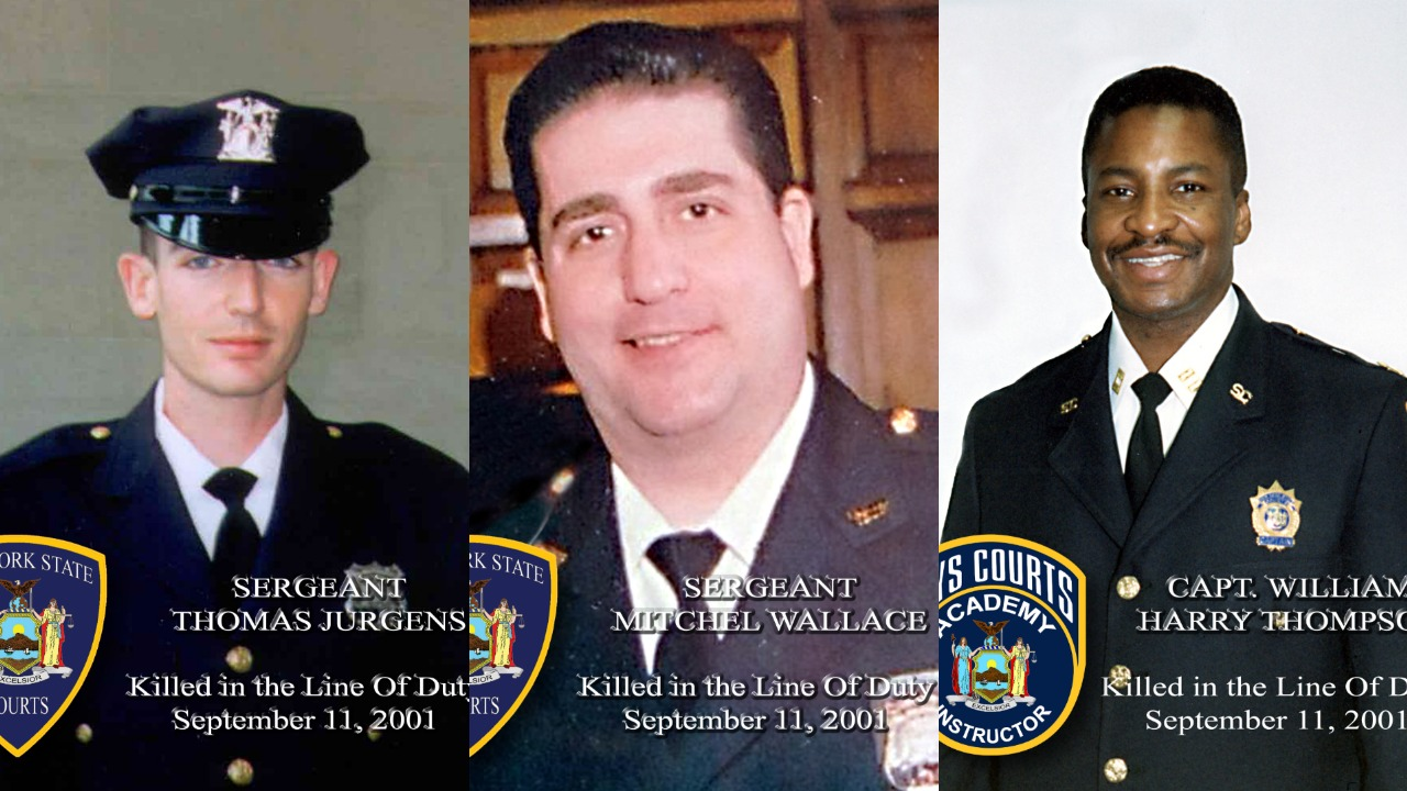 Sgt. Thomas Jurgens, Sgt. Mitchel Wallace and Capt. William Harry Thompson died in the World Trade Center on Sept. 11, 2001. Photos courtesy of Joseph Baccellieri.