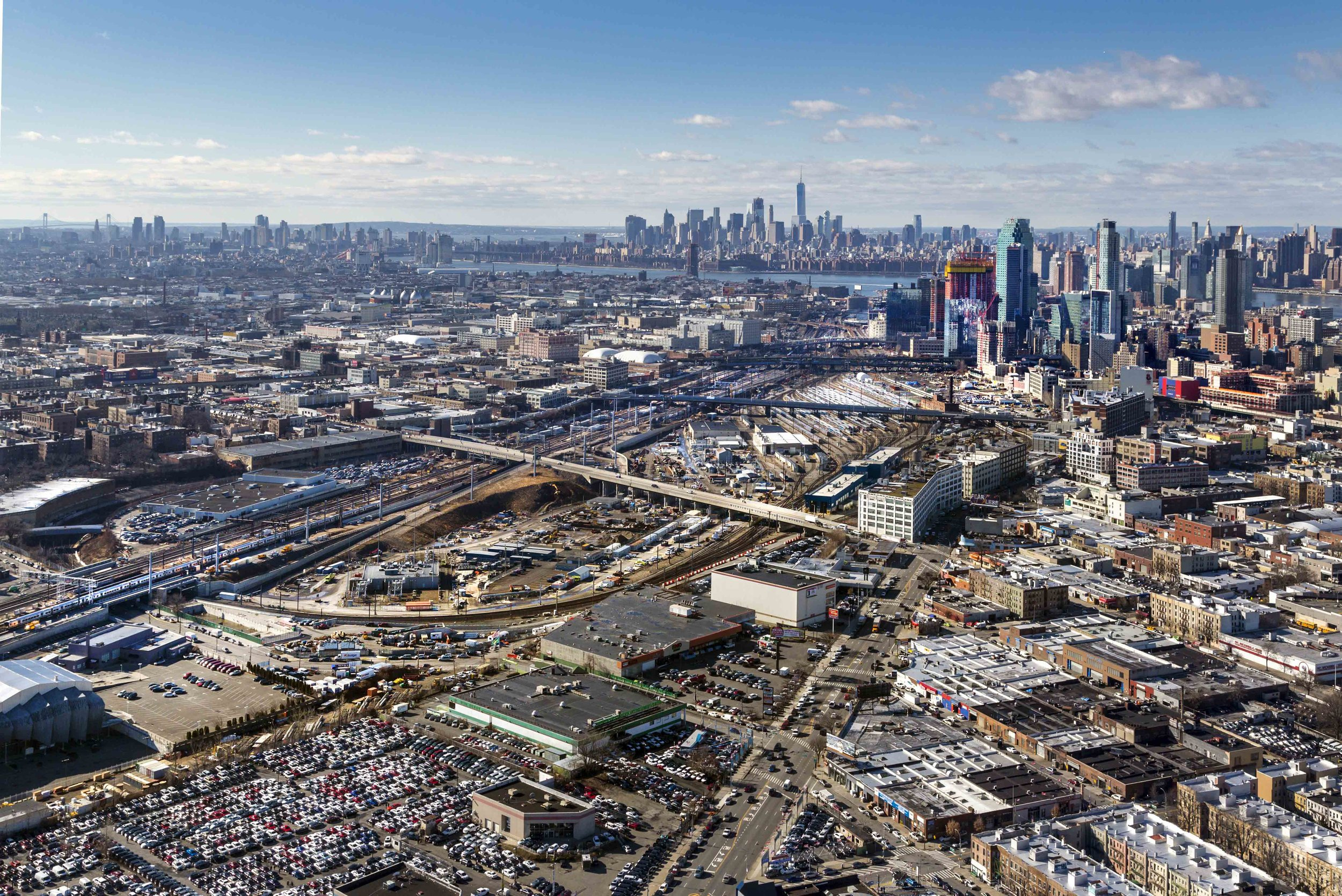 An aerial view of Sunnyside Yards. Photo via the NYCEDC.