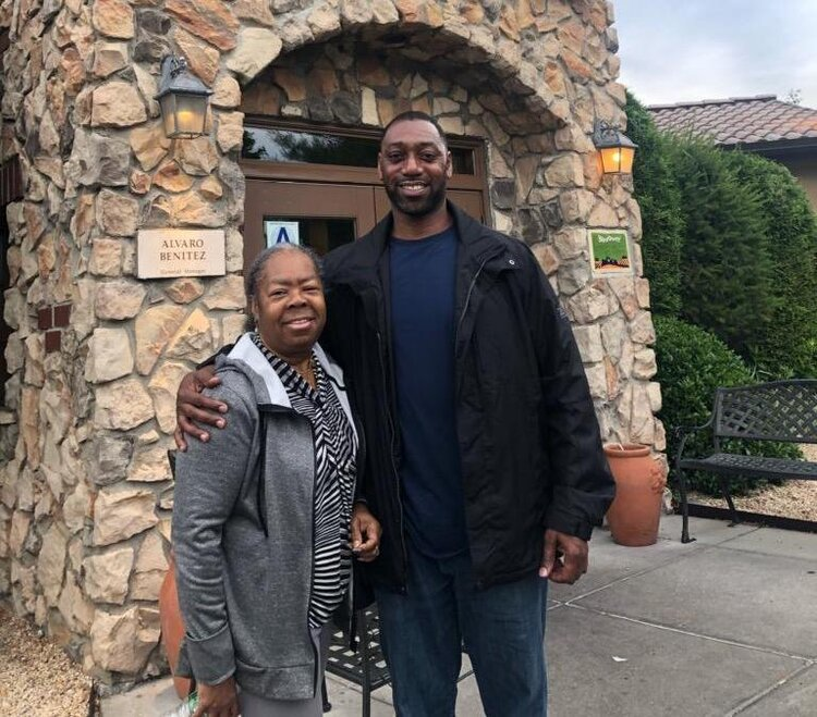 Michael Robinson (right) with his aunt Suzy Pryor. Robinson was convicted of murder in 1993 and is challenging his conviction based on recently examined DNA evidence. Photo courtesy of Legal Aid.