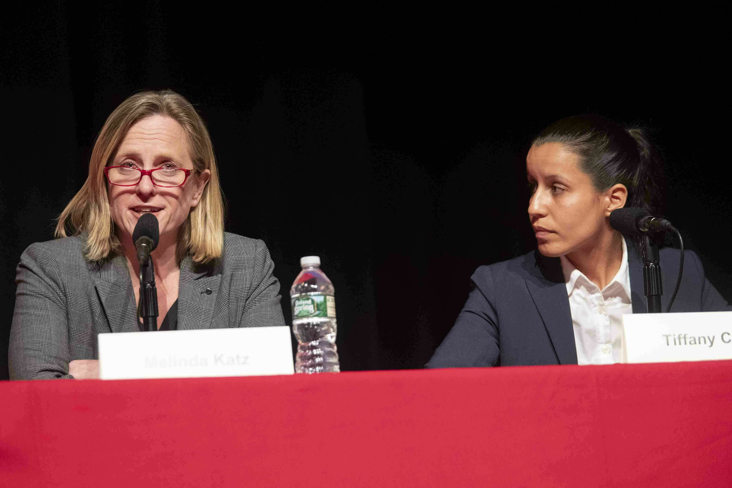 MELINDA KATZ (LEFT) AND TIFFANY CABÁN (RIGHT) AT A JUNE FORUM HOSTED BY THE  EAGLE  AND NAACP AT ST. JOHN'S UNIVERSITY. Katz defeated Caban by 55 votes in the Democratic primary for Queens DA. AP PHOTO/MARY ALTAFFER, FILE