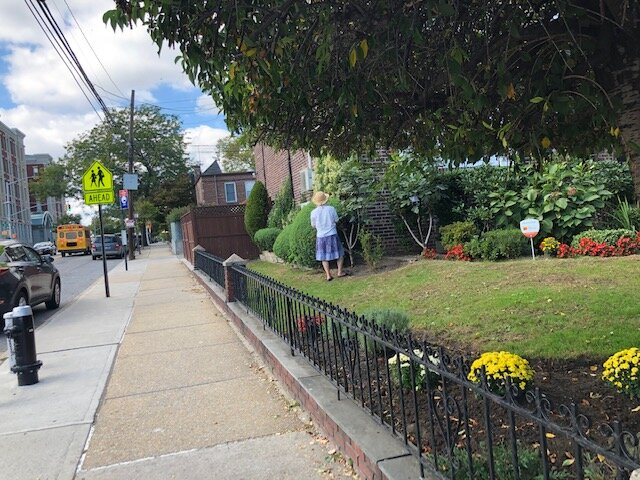 A Ditmars Boulevard resident tends to her lawn.