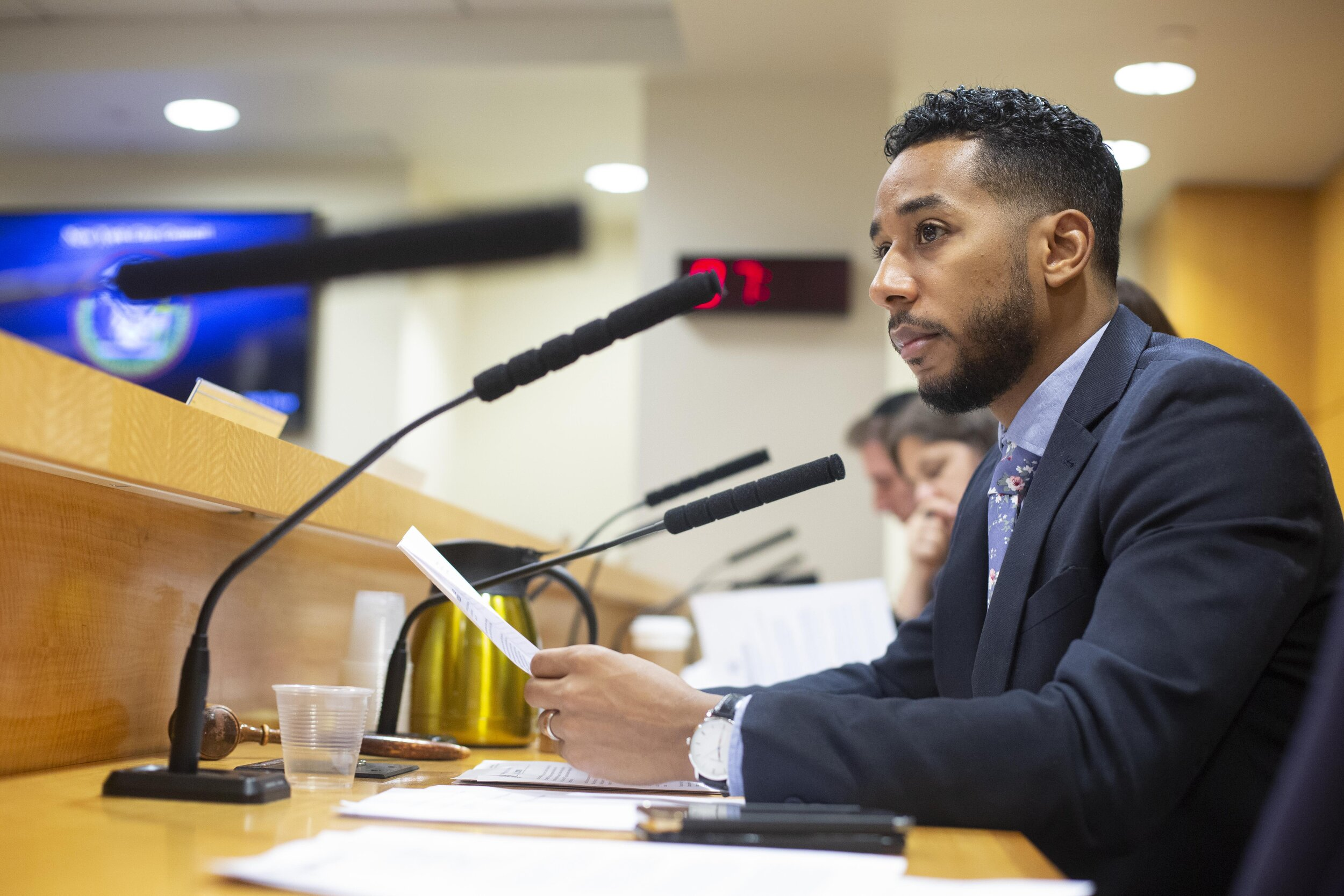 Councilmember Antonio Reynoso, who represents parts of Queens and Brooklyn, introduced a bill into the City Council that would require commercial waste zones, but would only allow for one waste carrier per zone, to be vetted by the city government. Photo by John McCarten via City Council.