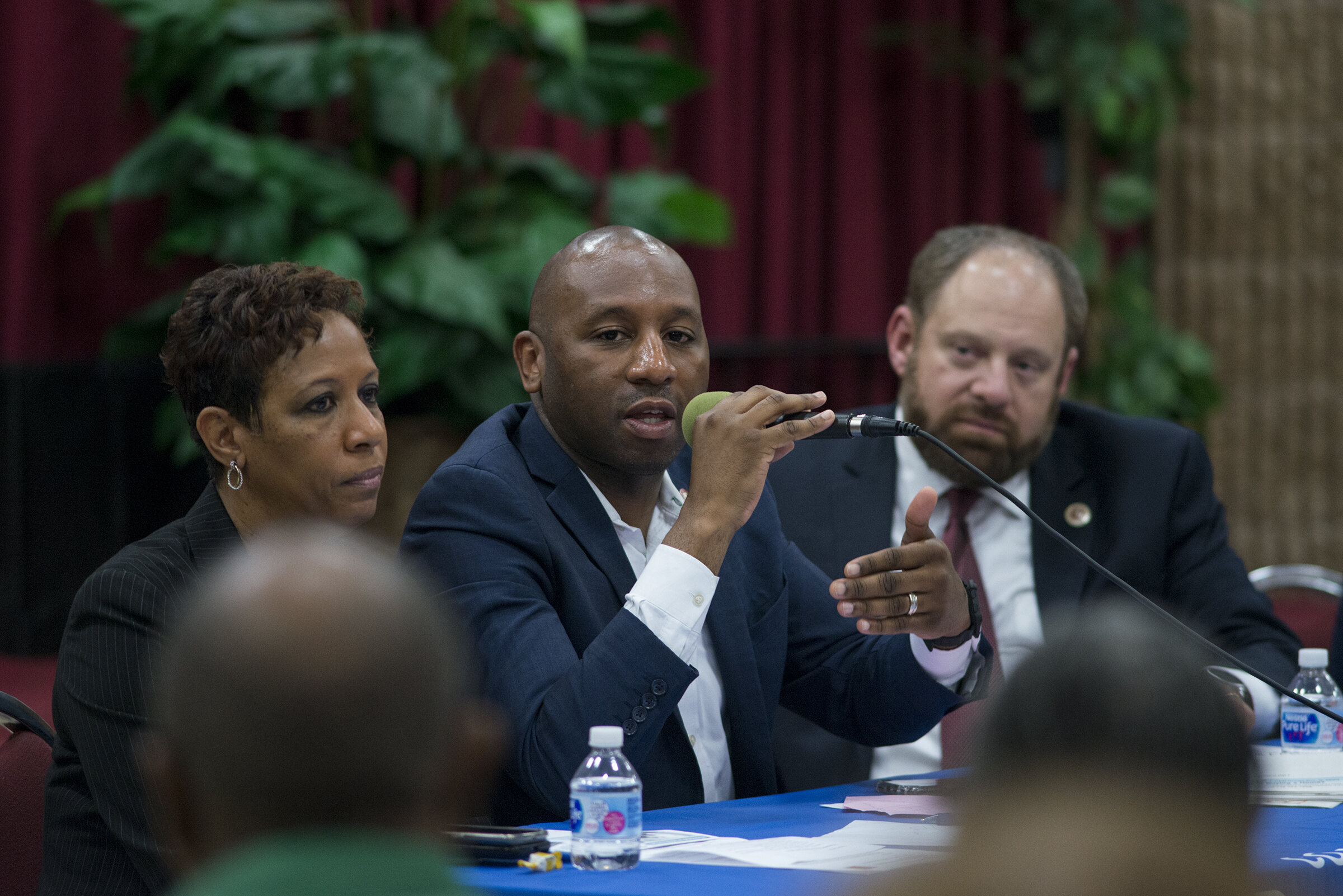 City Council Land Use Committee members Adrienne Adams, Donovan Richards and Rory Lancman voted in favor of a map change to ban jails on Rikers Island. All three councilmembers represent parts of Queens. Photo by Jeff Reed via City Council/Flickr.