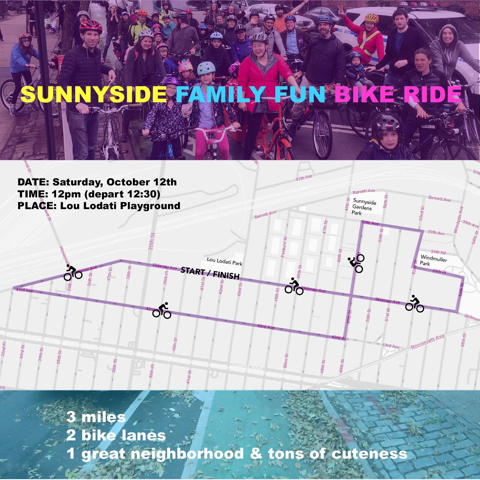 The Sunnyside Family Fun Bike Ride returns to the neighborhood this Saturday. Image courtesy of Sunnyside Family Fun Bike Ride.