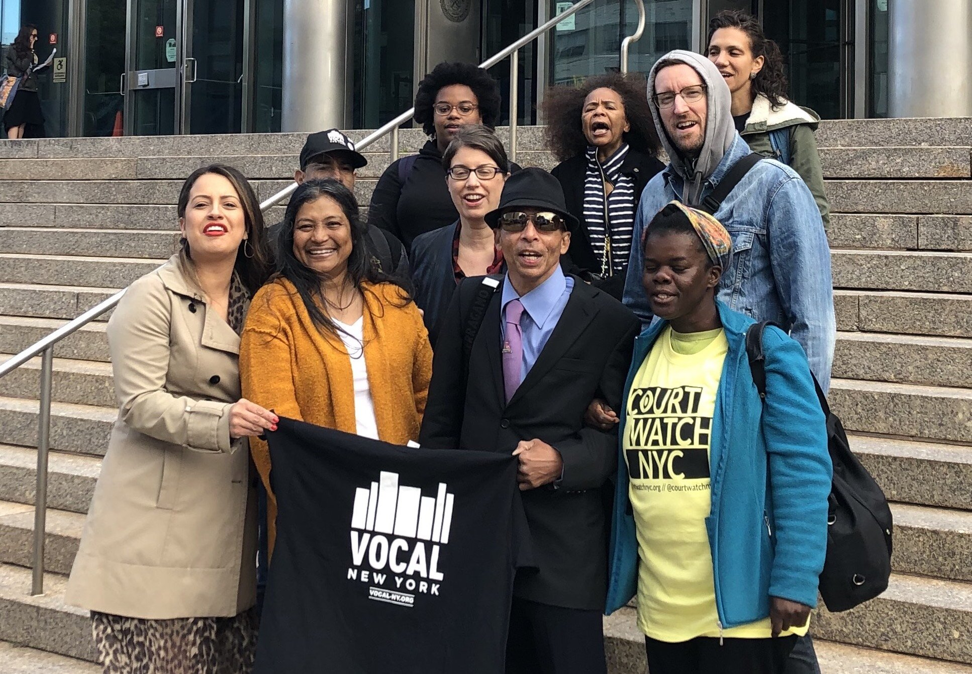 Advocates from Vocal-NY and Assemblymember Catalina Cruz (left) joined Peggy Herrera (second from left) at Queens Criminal Court Oct. 11 for a rally calling on the city to reform approaches to 911 calls for people experiencing emotional disturbances. Photo courtesy of Vocal-NY.