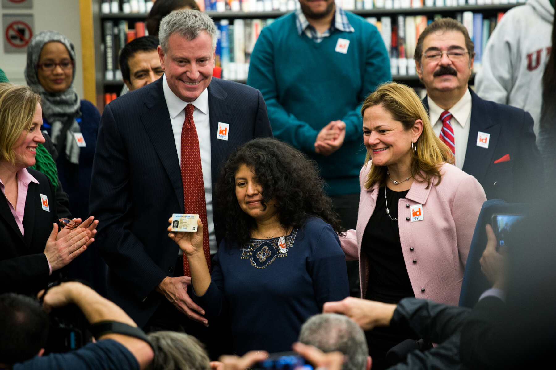 Mayor Bill de Blasio and city leaders introduced the the IDNYC card in 2013. Photo by William Alatriste via City Council/Flickr.