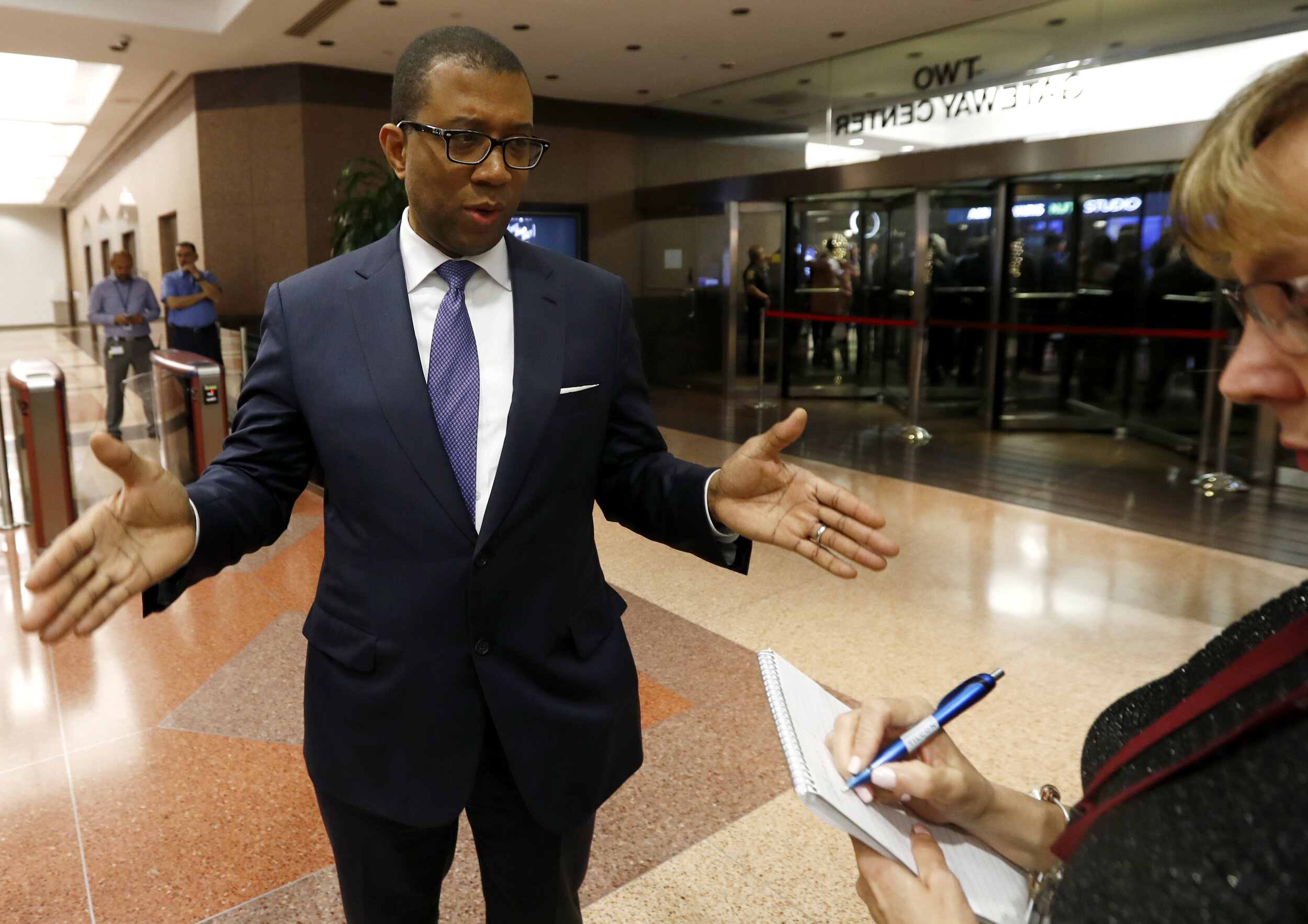 James Johnson speaks to reporters in 2017 during his unsuccessful run for New Jersey governor. Johnson was named New York City's Corporation Counsel on Thursday. AP Photo/Julio Cortez.