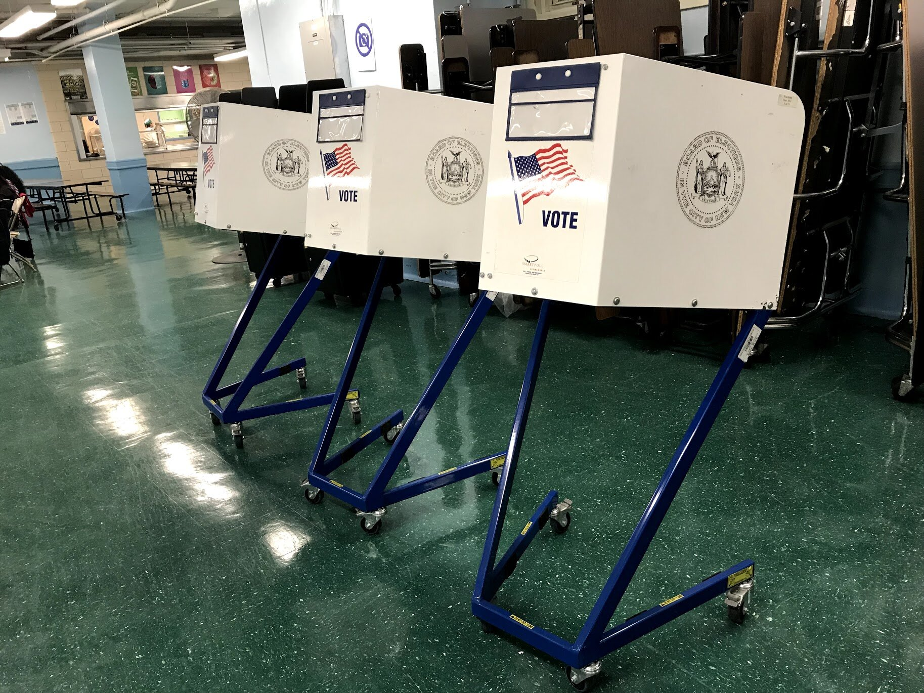 Voting booths at a polling place in Ridgewood during the 2019 primary.  Eagle  photo by David Brand