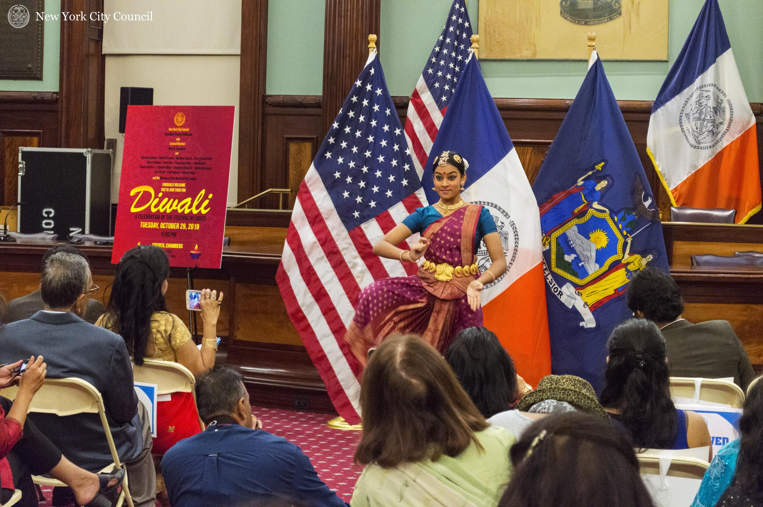 A performer dances during a Diwali celebration at City Hall last week. Photo courtesy of the New York City Council.
