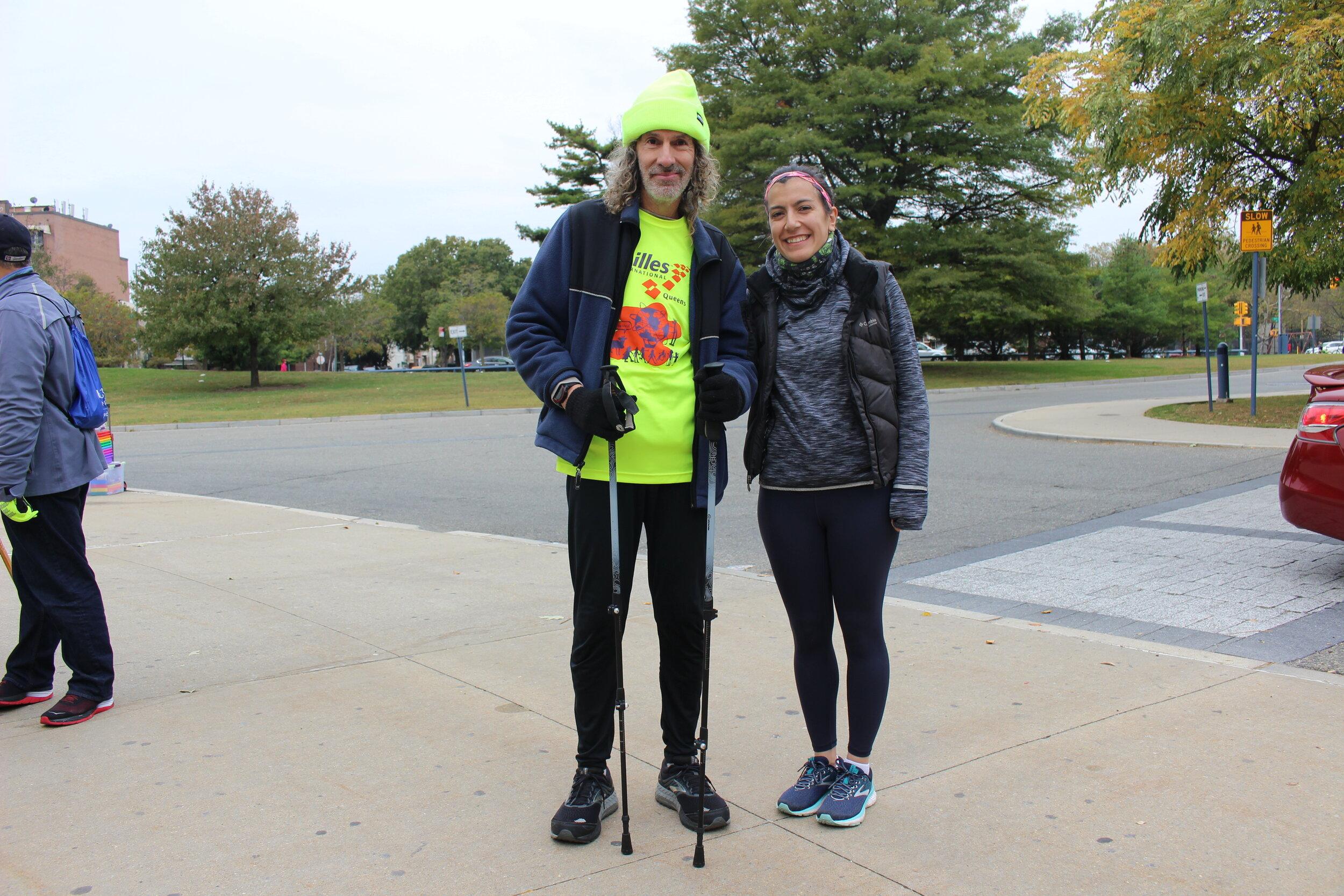 Runner Alan Kaufman and guide Petrina Schneiderman.