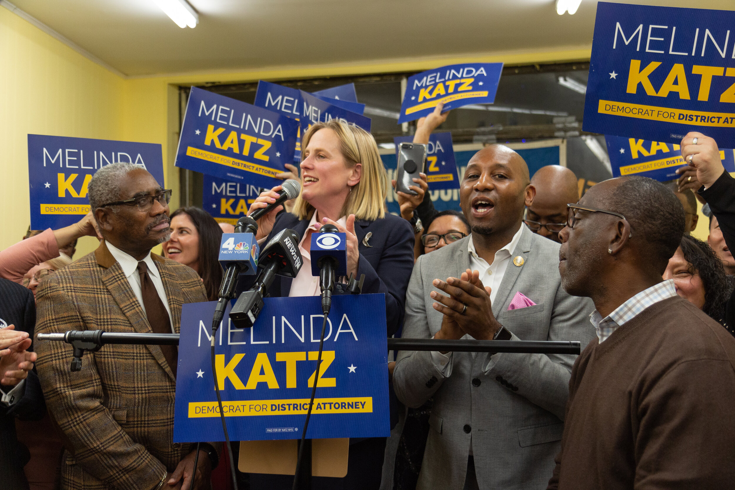 Borough President Melinda Katz claims victory last night in the Queens District Attorney race.  Eagle  photo by Jonathan Sperling.