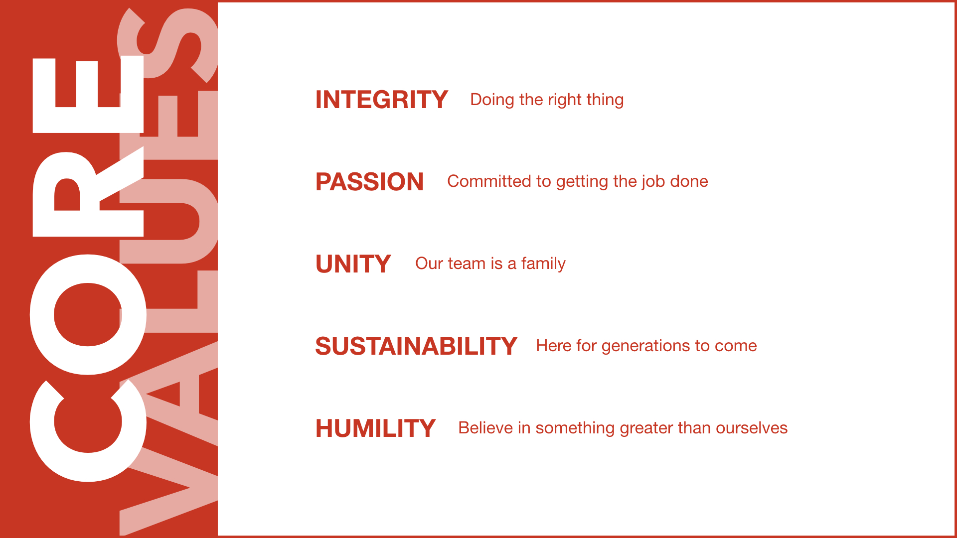 SPOT Core Values - Integrity, Passion, Unity, Sustainability, Humility