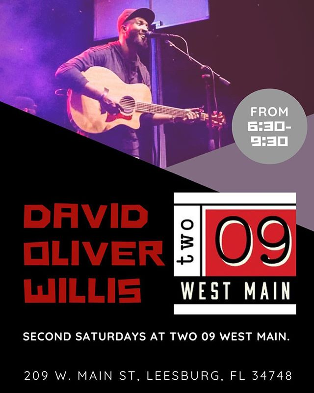 TWO 09 West Main now presents Live Music! Starting with American Idol finalist David Oliver Willis, Saturday the 19th from 6:30-9:30pm! Come join us for a night of food, fun and music!
