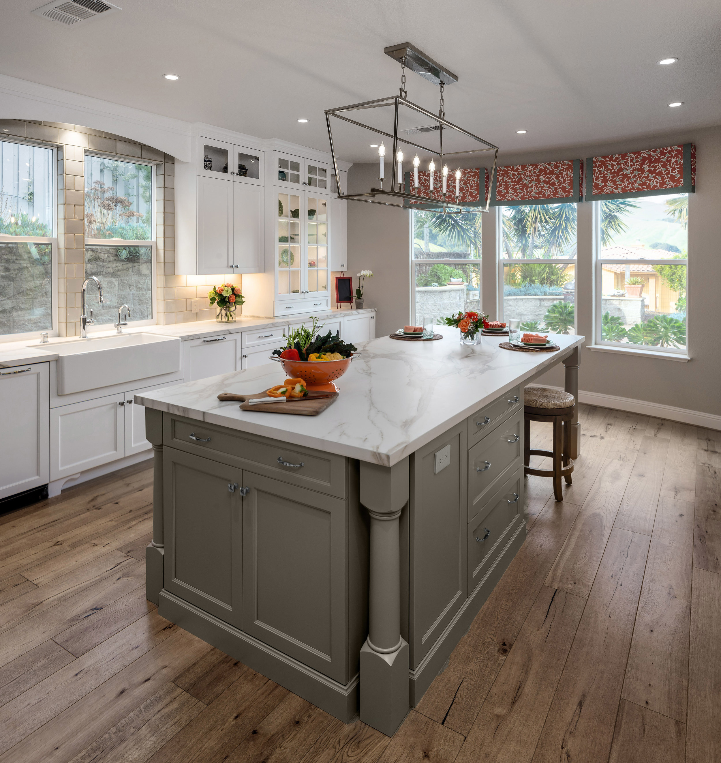 How The Right Kitchen Wall Color And The Tailored Window Valances Make For A Spectacular Kitchen Design Marie Antoinette Interiors