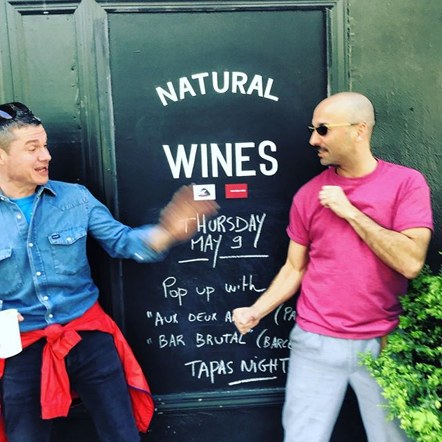 Get ready for our pop up this Thursday with chef Mathieu from #barbrutal (Barcelona) and David  owner at #auxdeuxamis (Paris). Tapas night and magnums by the glass 🕺  #fortgreene  #naturalwine  #friendsintown