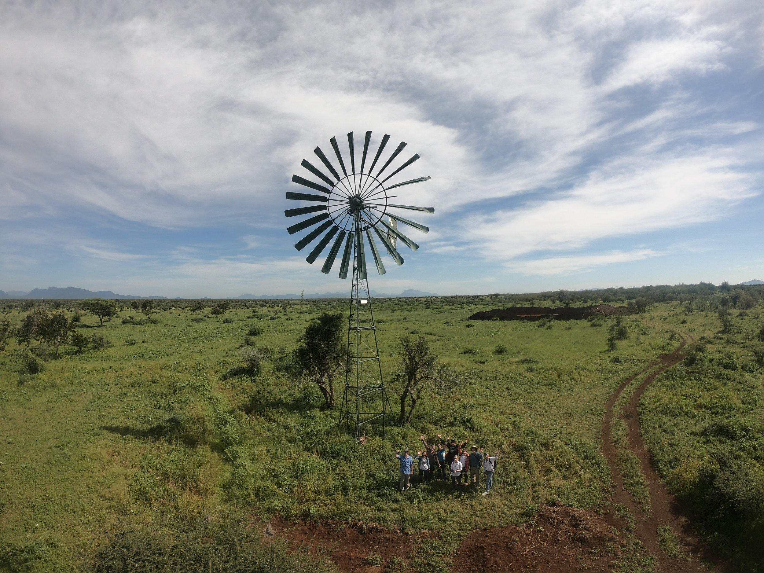 Our assessment trip team with the Kijito windmill in Gambella, May 2018.