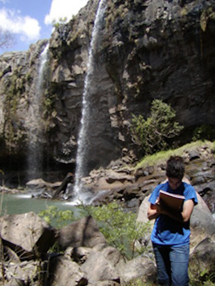 The waterfall in La Estanzuela, Honduras where student were sampling water quality.