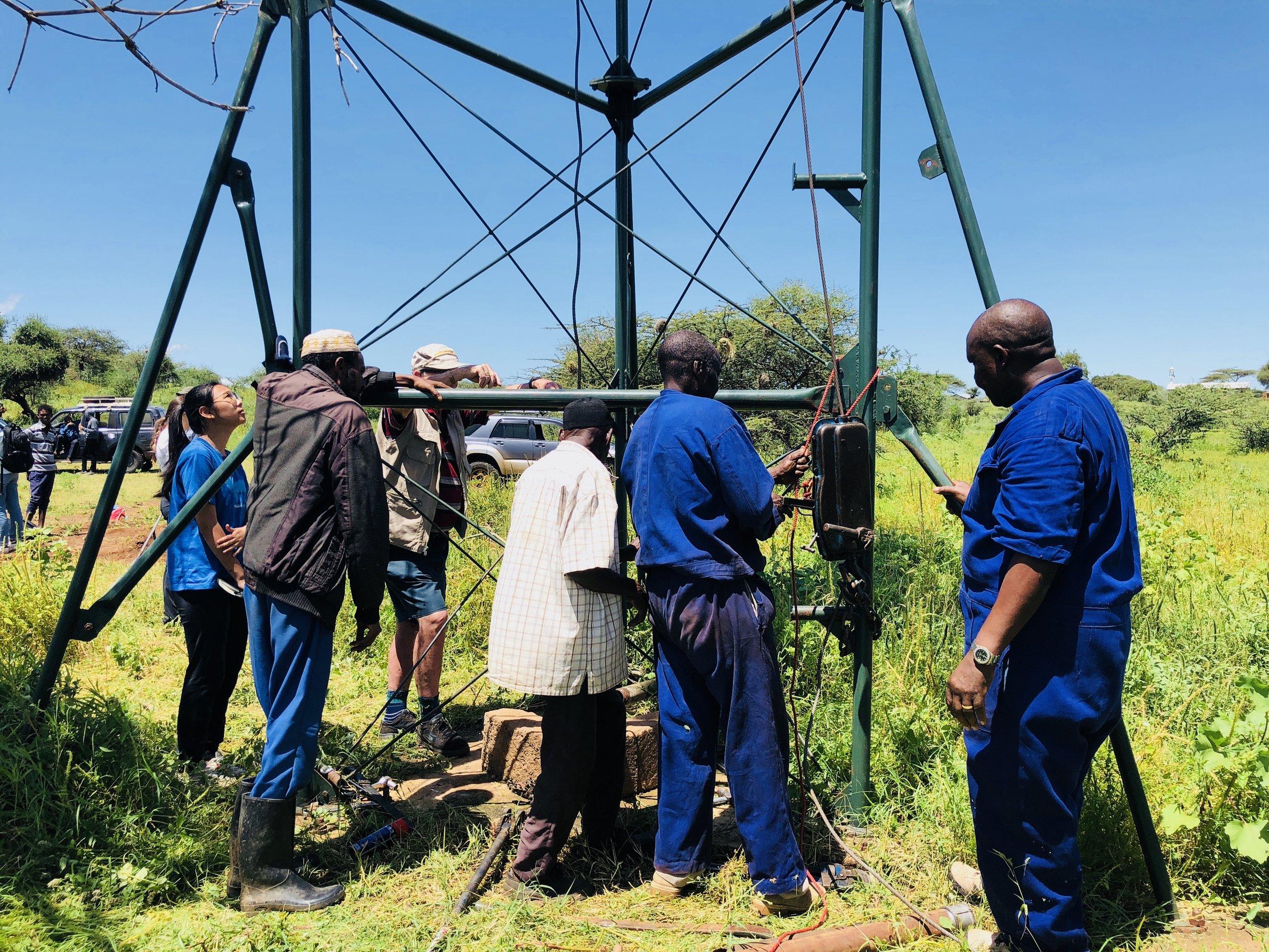 Working on assessing the broken windmill pump in Gambella Kenya, May 2018.