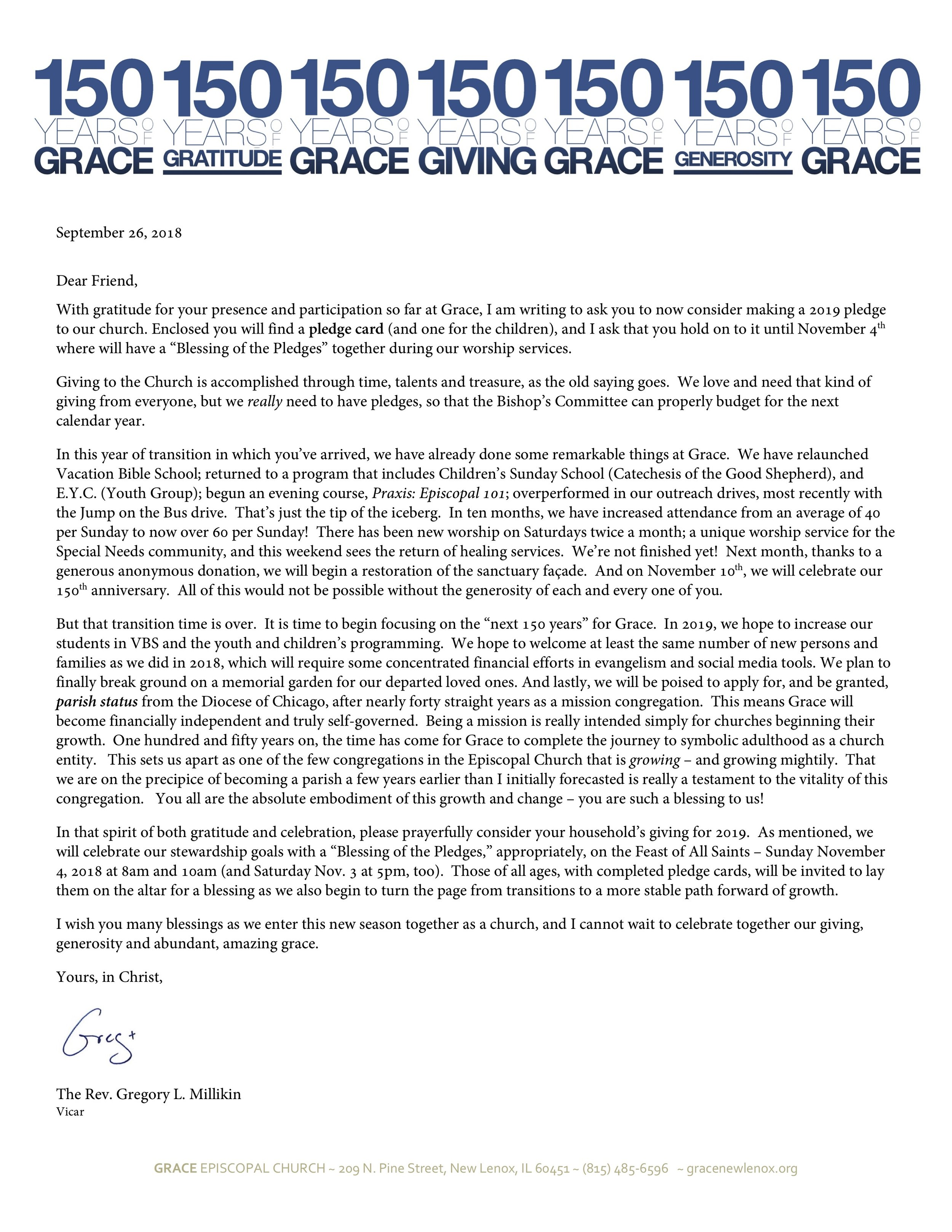 Please consider a yearly pledge, a one-time gift or a donation to Grace New Lenox! - For more information, please CONTACT US