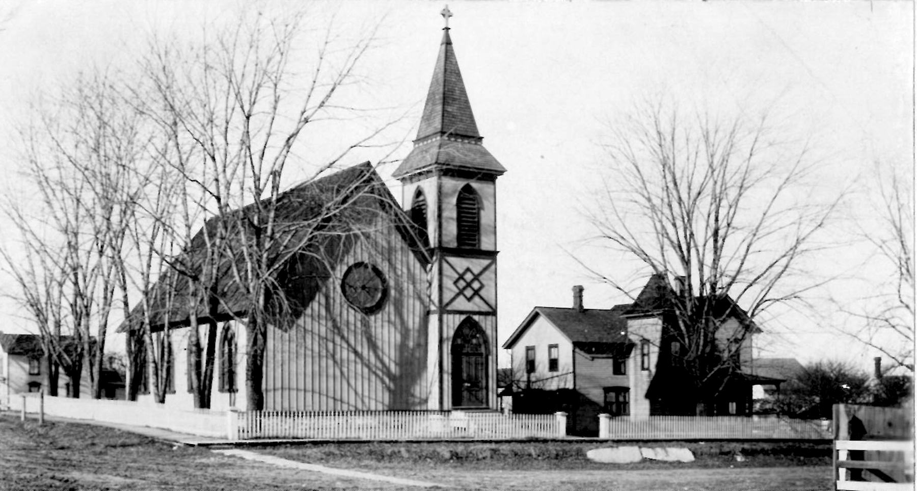 """Oldest Known Photo of Grace Episcopal Church, ca. 1886.  To the right can clearly be seen the original parsonage (or """"rectory"""")."""
