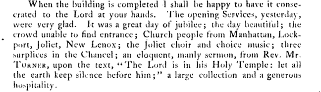 September 12, 1870.  Excerpt from The Rev. Sam Cowell's letter to the Bishop of Illinois, John Whitehouse, attesting to the first service in the new Grace church building.