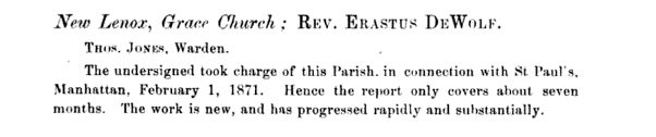 Excerpt from the Diocese of Illinois' Journals, 1871.