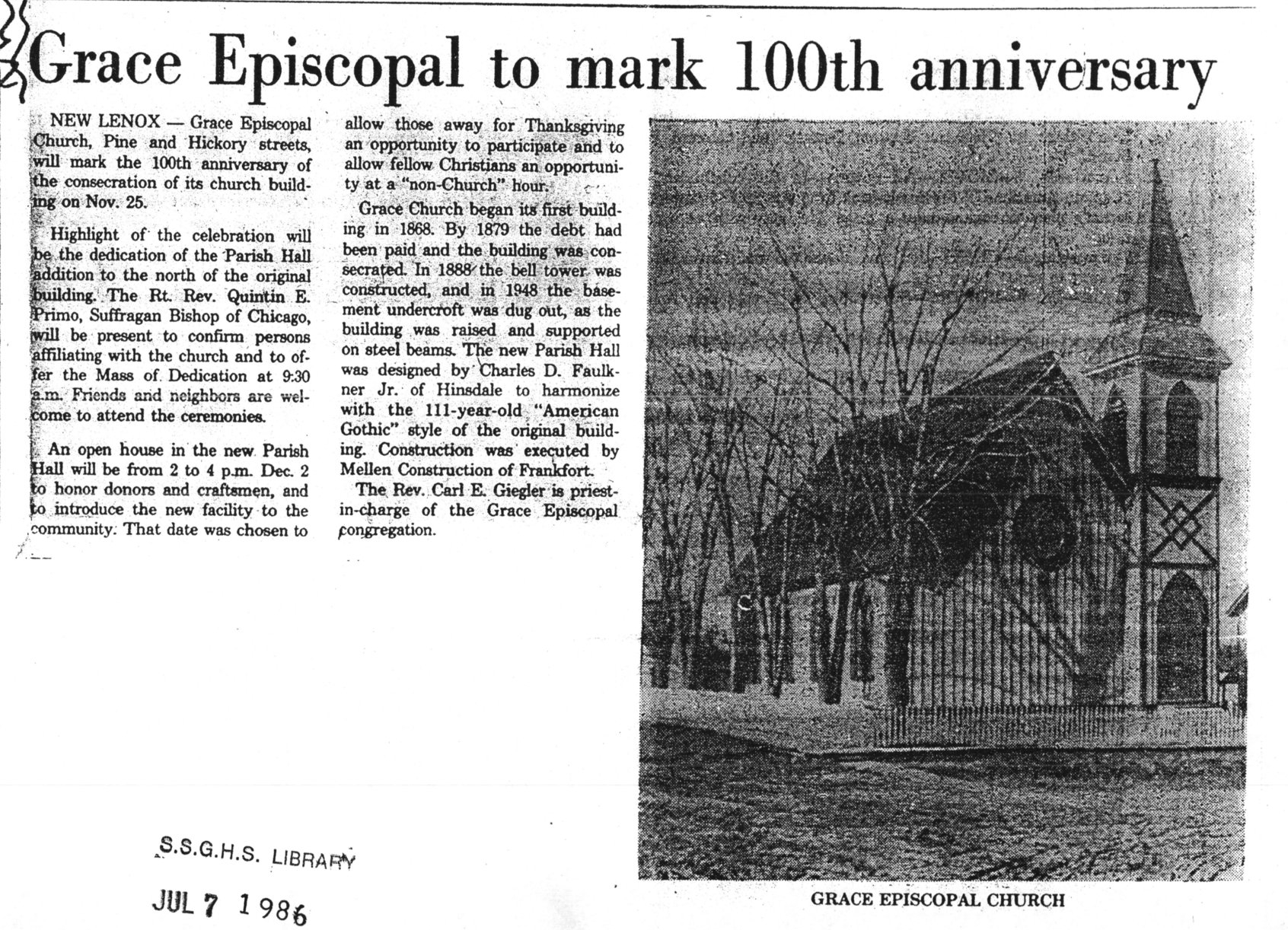 The Joliet Herald's article from November 1979, describing a celebration of the 100th anniversary of the building's consecration (November 25, 1879)