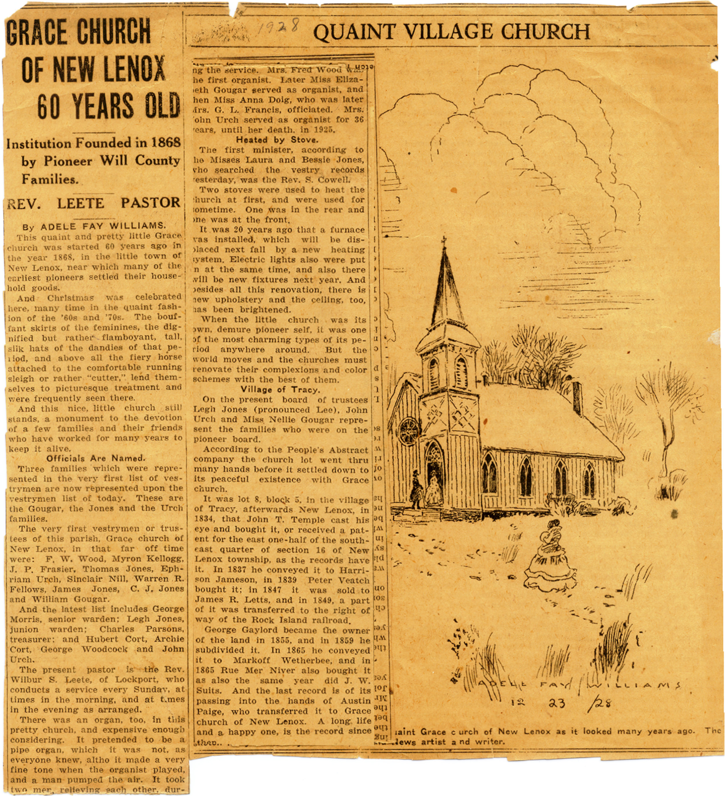 Adele Fay Williams sketched an illustration of the church and wrote this article on the occasion of Grace's 60th Anniversary year.