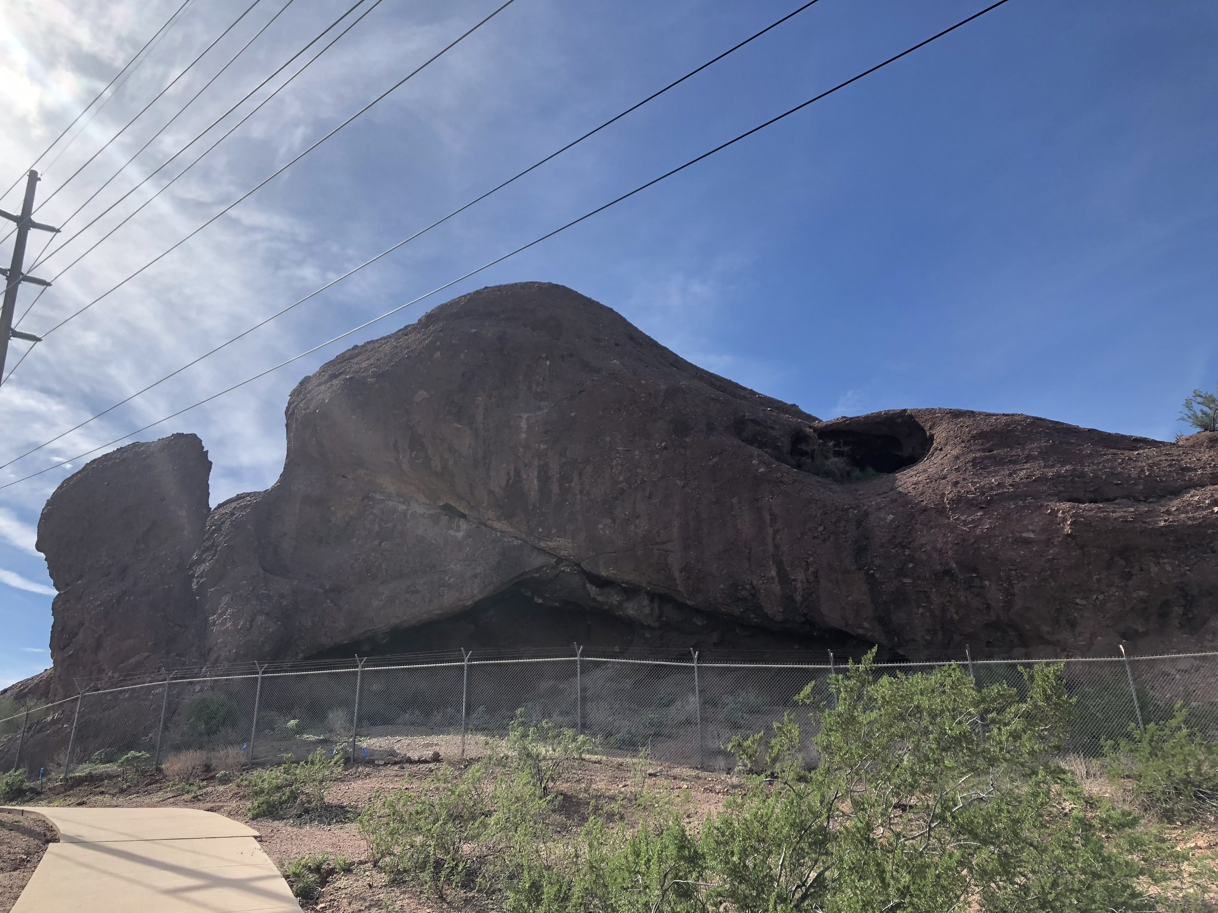 Cool rocks in the Tempe Botanical Garden (ignore the fence and telephone wires).