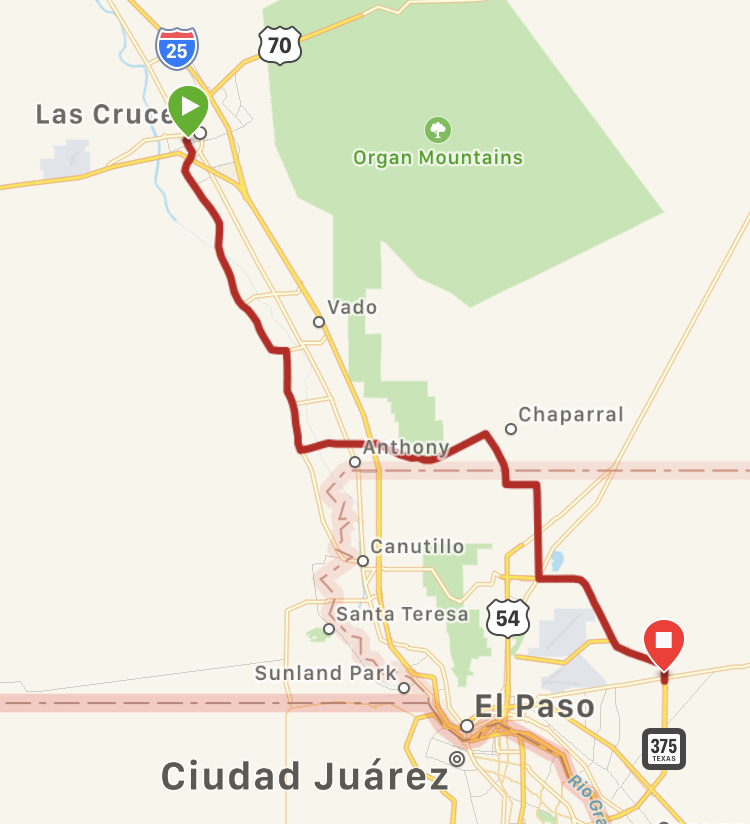 Our route for the day.