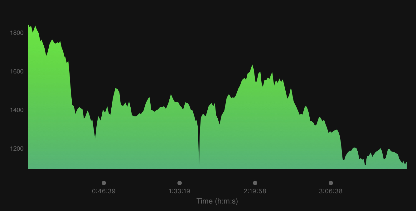 Our elevation profile (look at all those hills).