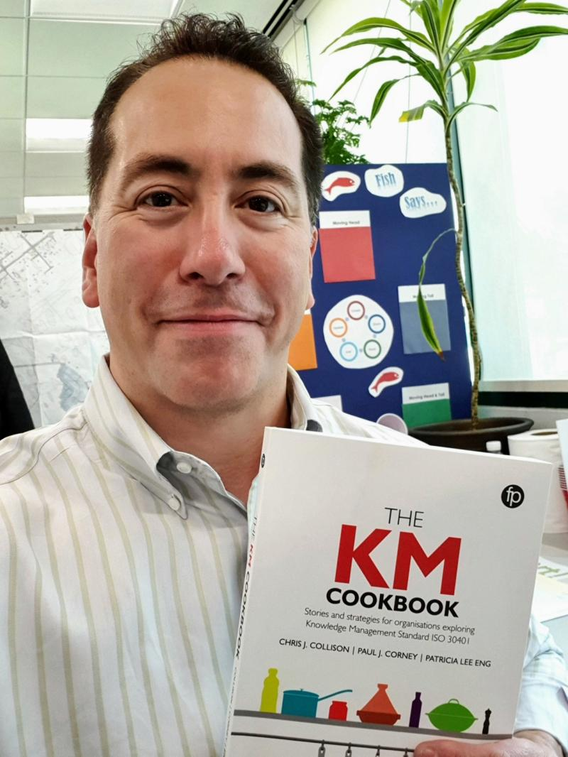 First KM Cookbook in the Middle East! One of our featured 'chefs', Tony Melendez at Saudi Aramco brandishing his copy, in front of the 'knowledge fish'! You have to read the chapter to find out more!