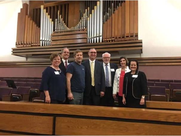 From left to Right: Nora Hess, BYU Organ Faculty; Dr. Don Cook, BYU Chair Organ Dept. and AGO National Counselor for Education; Ryan Ballantyne, Organ Builder; Chad Myler, Coordinator for the Dedicatory Service and Organ Workshop; Steve Wright, Dean, SNCAGO, Work-shop Instructor; Laurie Swain, Workshop Instructor, SNCAGO Member; Jane Dye, Workshop Instructor, SNCAGO Member.