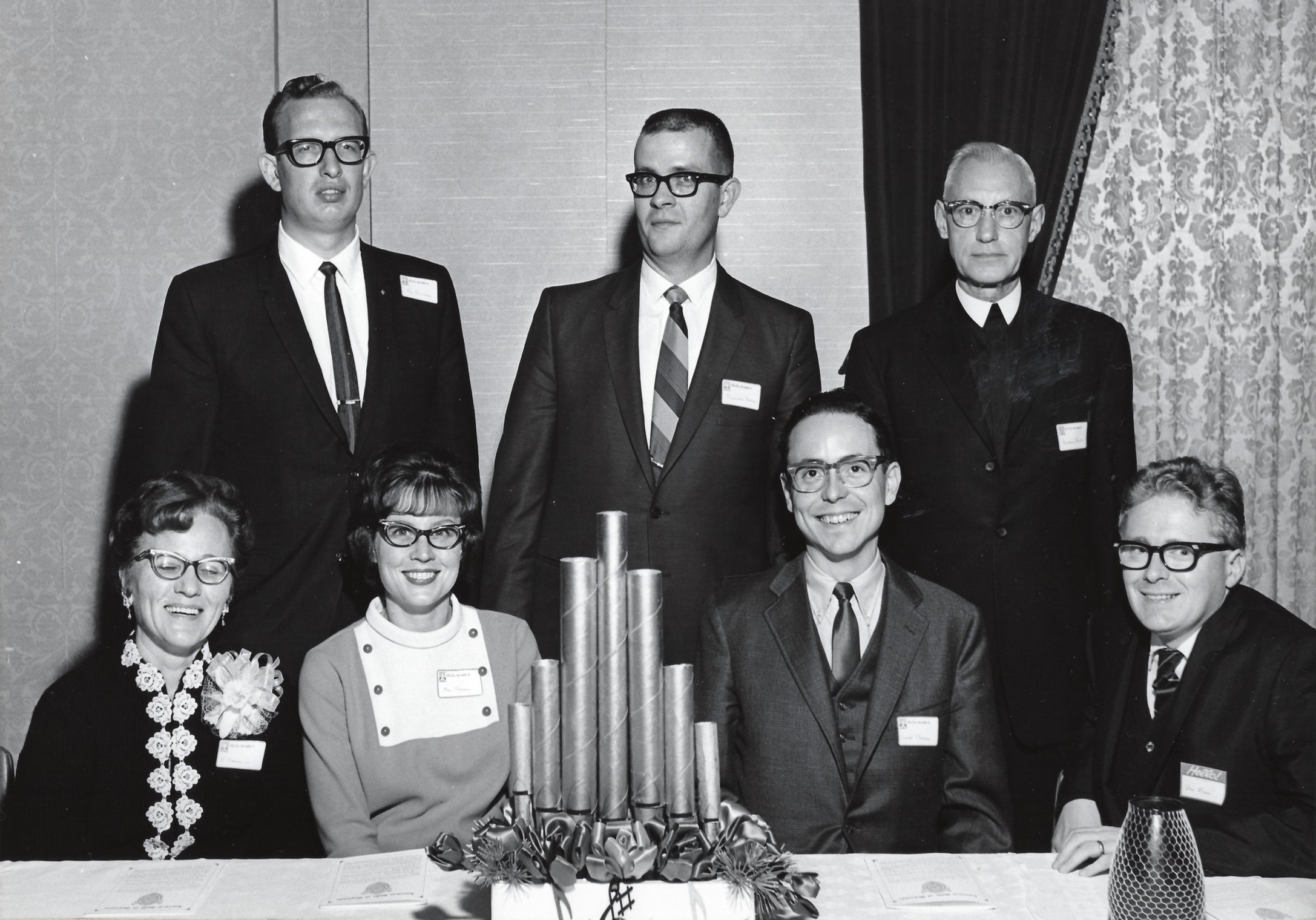Seated: Mrs. Vi Fermenich, Mrs. and Mr. Ladd Thomas, Don Kemp.  Standing: Ken Saunders, Raymond Barnes and Brother Joseph Drolet, CSV