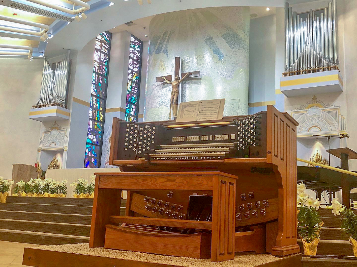 The Rodgers 3-manual Trillium organ console along with its six ranks of pipe work