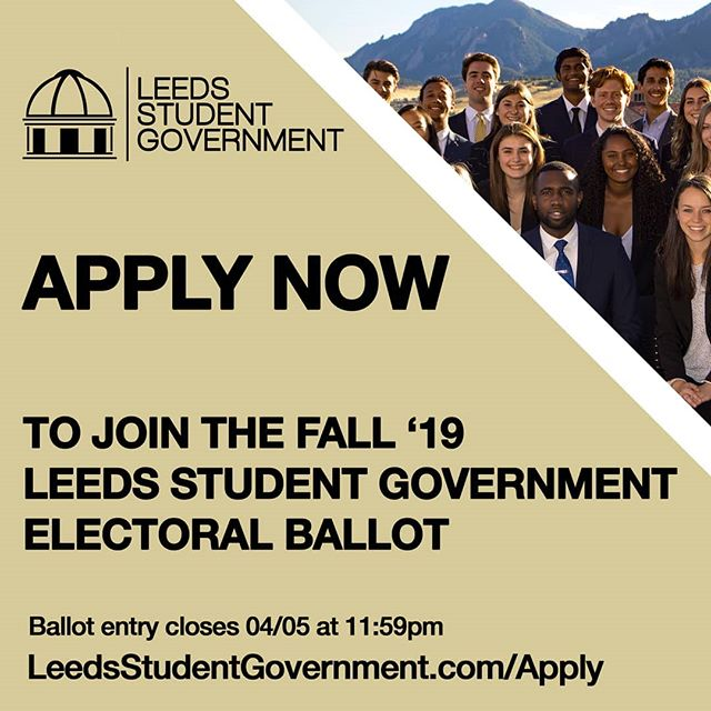Happy Spring Break, Leeds Buffs! We have officially opened our ballot applications to students! If you are passionate about Leeds, the business school student body, project management, teamwork, and enhancing the student experience, take some time this break to review our organization and apply!  The application is available on our website at LeedsStudentGovernment.com/Apply until April 5th at 11:59PM MST (Link in Bio)