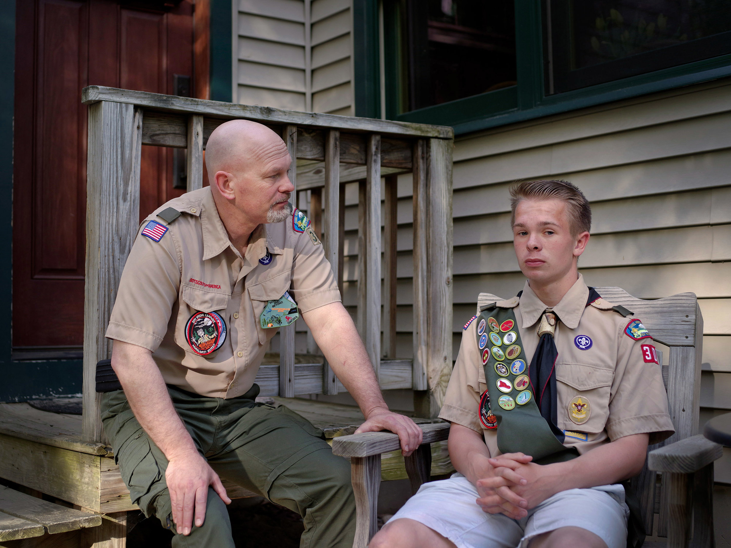 Rich and EJ in Boy Scouts uniforms, 2018