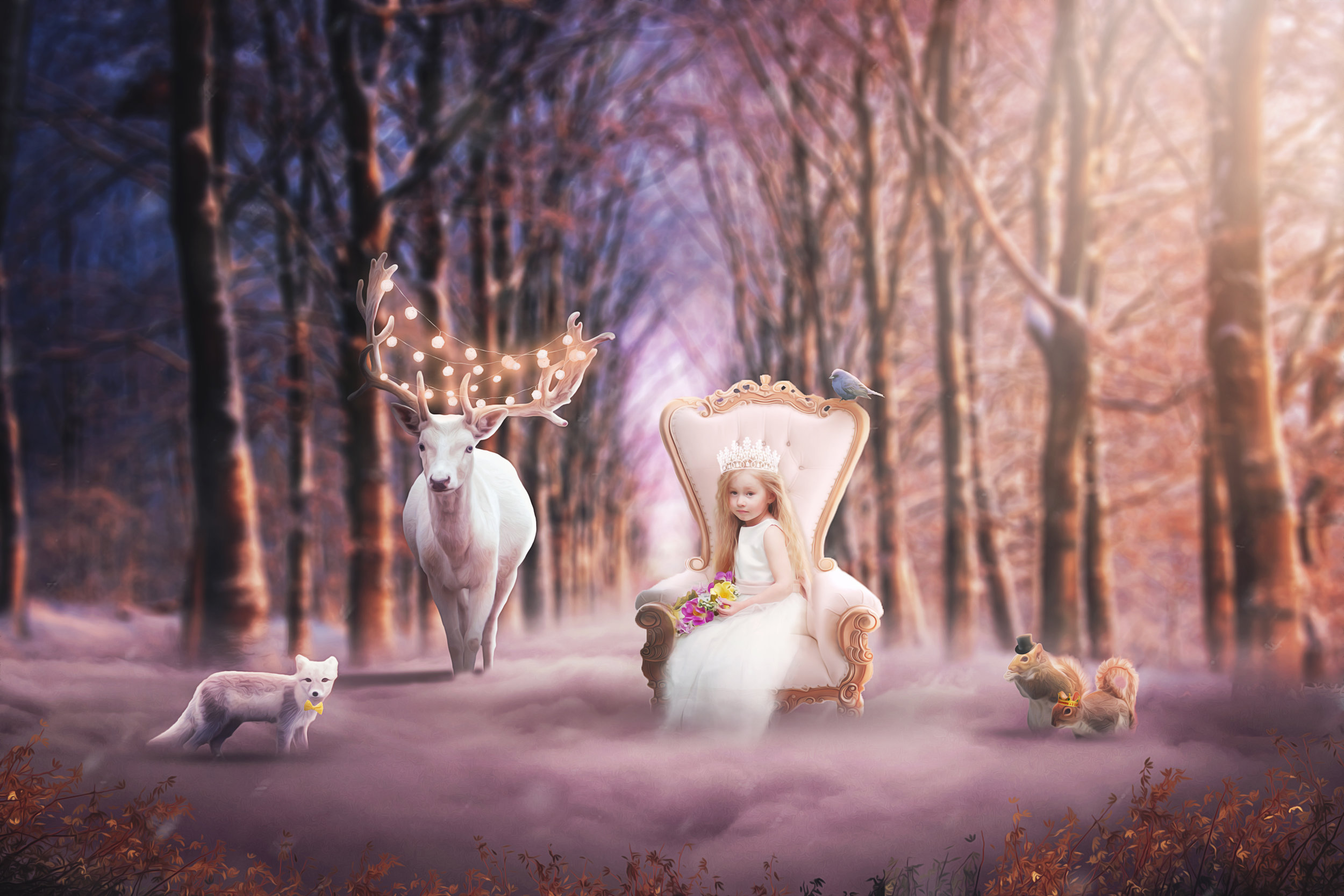 A forest queen and her loyal friends.