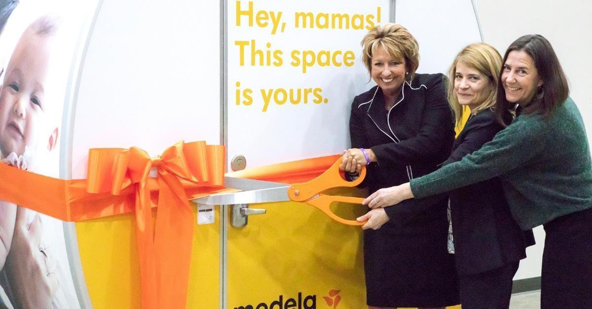 Melissa Gonzales, executive vice president of Americas for Medela LLC was joined by Mamava Co-founders Christine Dodson and Sascha Mayer for a ribbon cutting for the newest Mamava pod, placed at Medela's U.S.-based offices in McHenry, Ill.