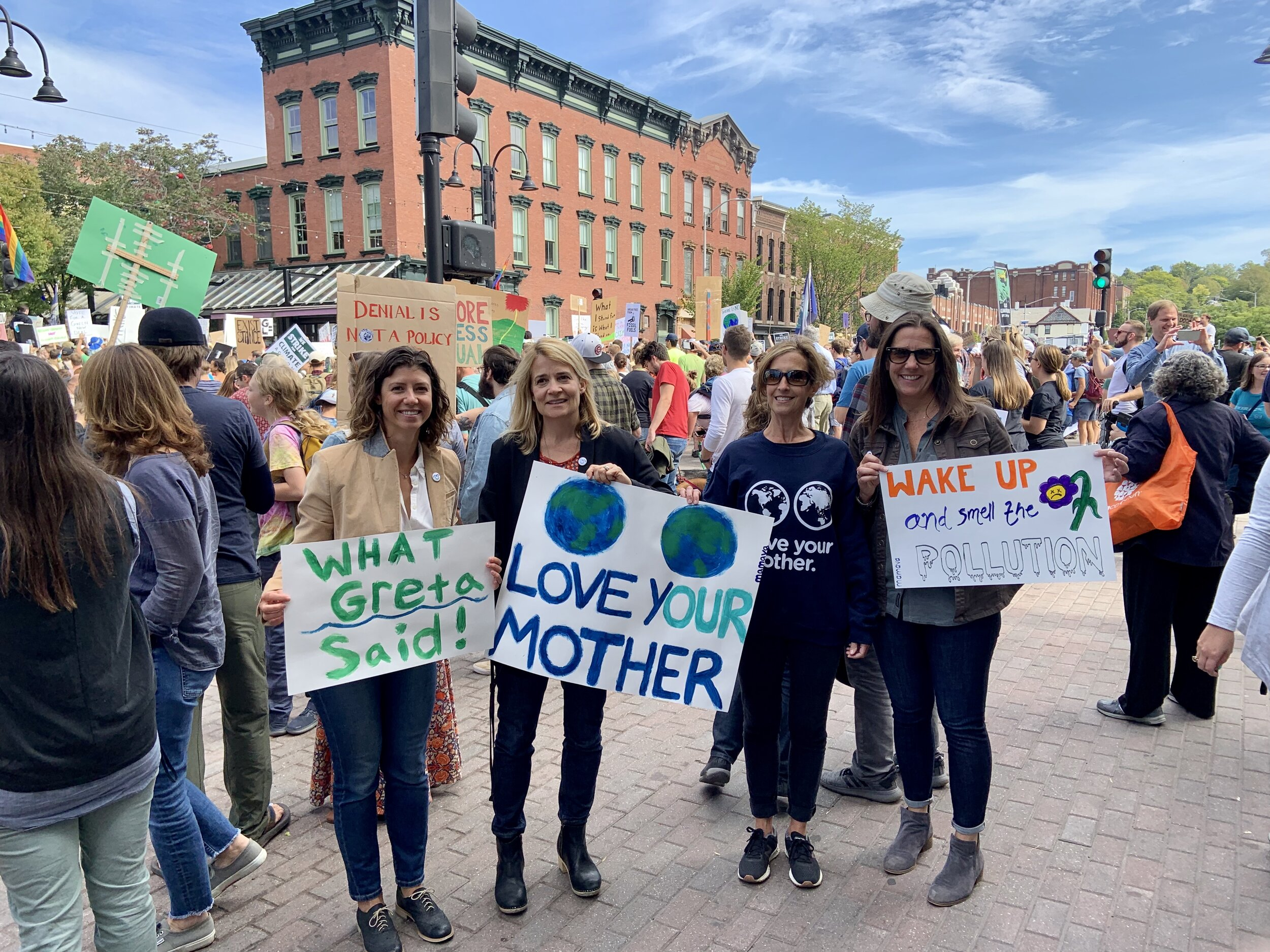 Members of the Mamava team (including Co-Founders Sascha Mayer and Christine Dodson) attend the Burlington Climate Rally.