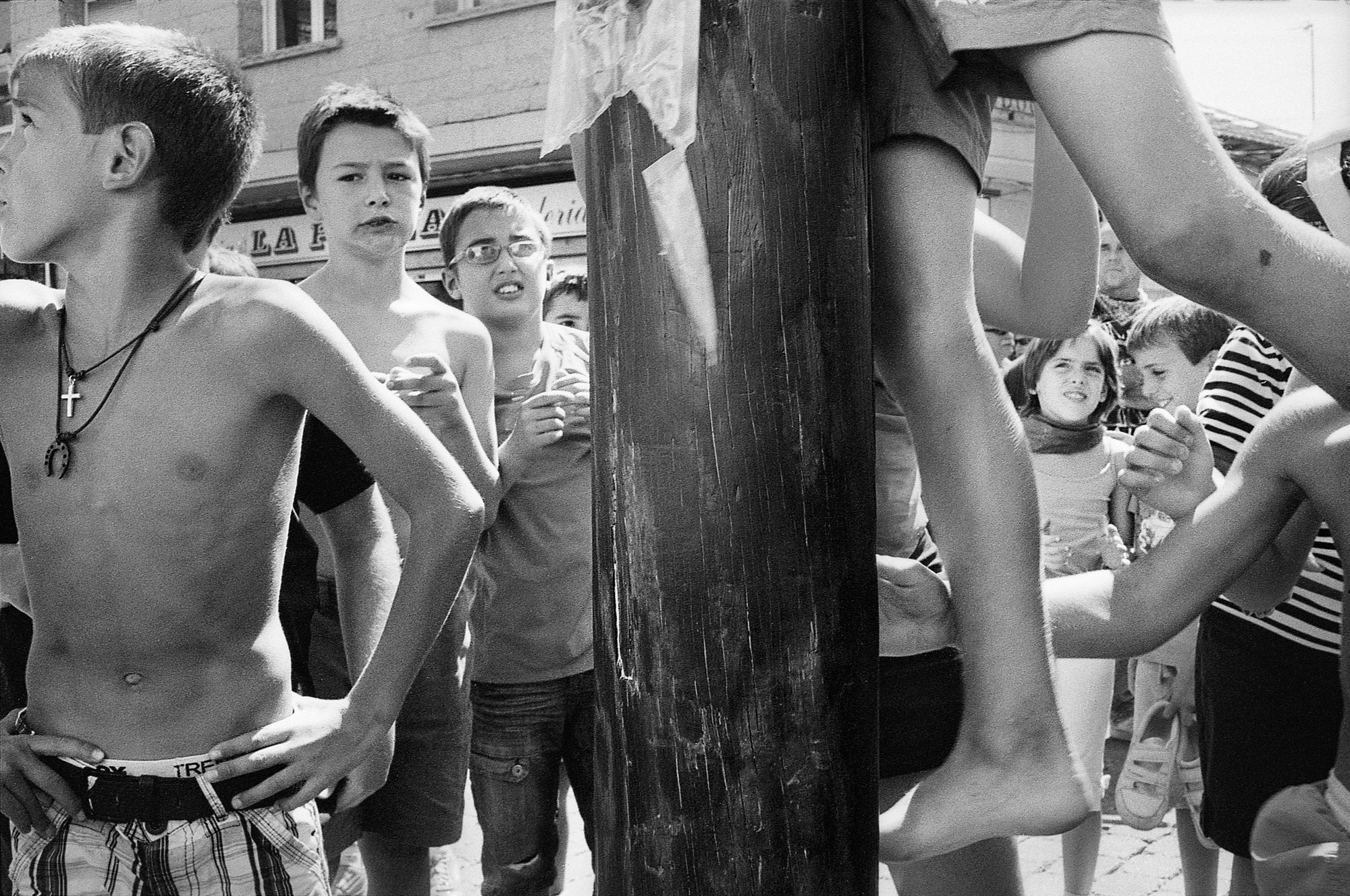 """Cucaña"" competitors awaiting their turn. Summer, 2011."