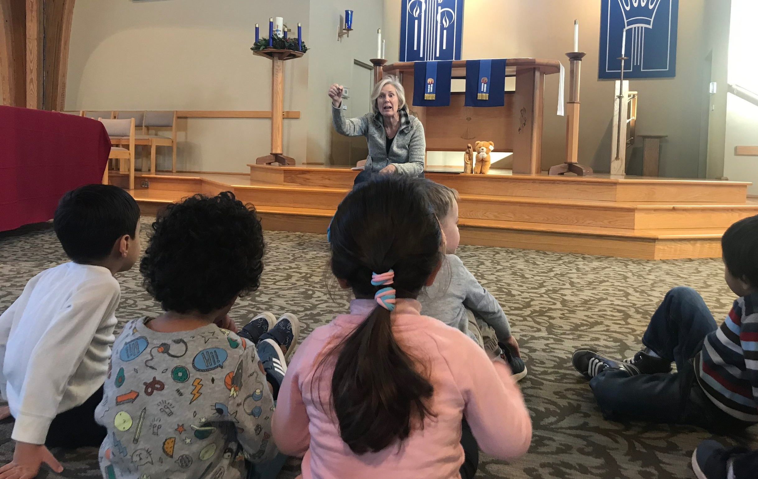 Chapel - Each class has a weekly chapel lesson to encourage and foster our Christ-centered environment. Children are engaged in prayer, song, stories, and fellowship.