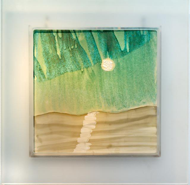 METEOR SHOWER by Susan Card  Porcelain glaze painting, Plexiglas frame