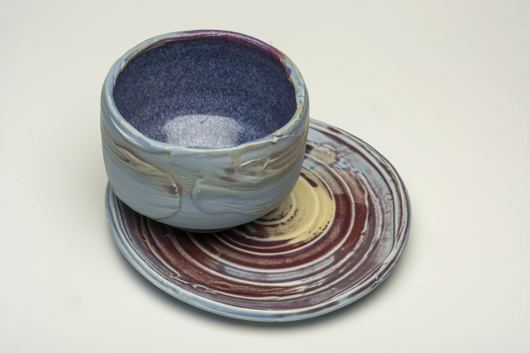 PORCELAIN, GAS REDUCTION TEA BOWL and PLATTER by Susan Card